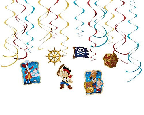 Diseny Jake and the Neverland Pirates Party Foil Hanging Swirl Decorations / Spiral Ornaments (12 PCS)- Party Supply, Party Decorations ()