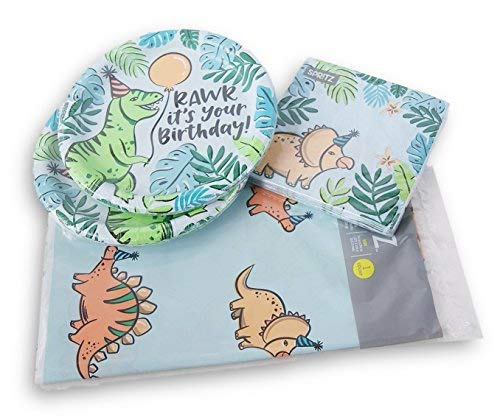 Dinosaur Themed 20 Person Party Supply Kit - Plates, Napkins, Tablecover for $<!--$26.99-->