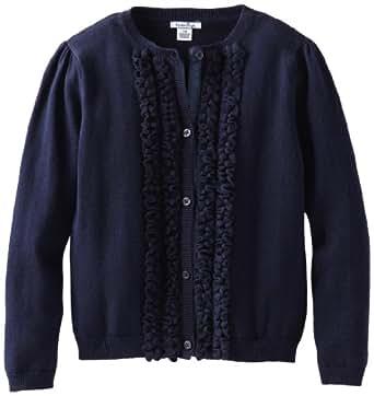Hartstrings Little Girls' Toddler Cotton Sweater Cardigan, Pea Coat Navy, 3T