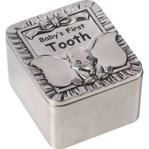 Precious Moments Disney Showcase, Dumbo Baby's First Tooth Zinc Alloy Keepsake Box, 172705 Baby Tooth Bank