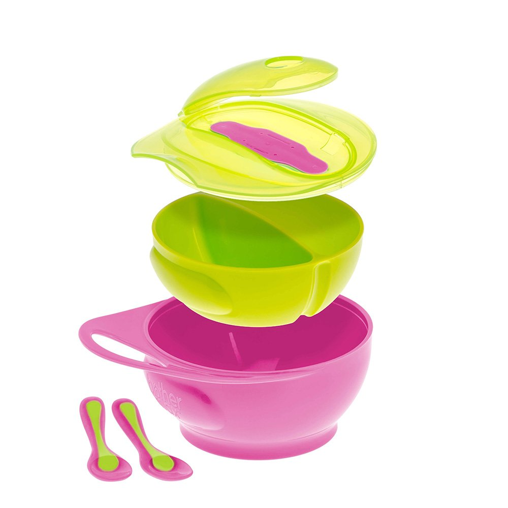 Brother Max Easy Hold Weaning Bowl Set (Pink/Green) 71220PG2
