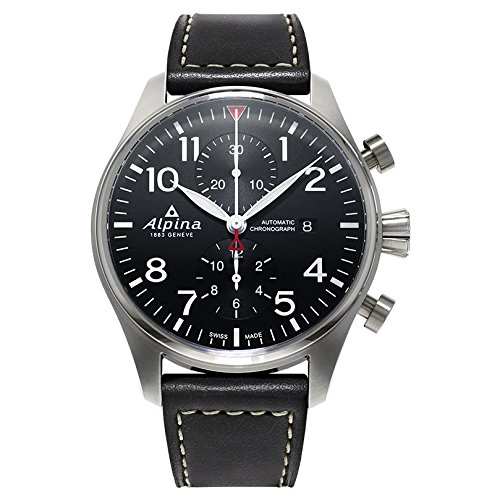 Alpina Men's Black Dial Leather Strap Watch AL725B4S6XG (Certified Reurbished)
