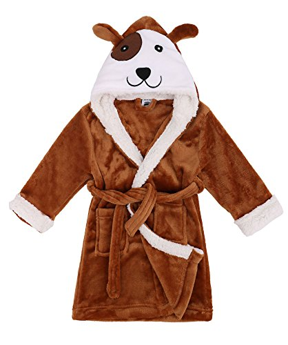 Toddler Robe Zoo Crew Fuzzy Sherpa Lined Hooded Animal Bathrobe,Dog,S(1-3 Years) -