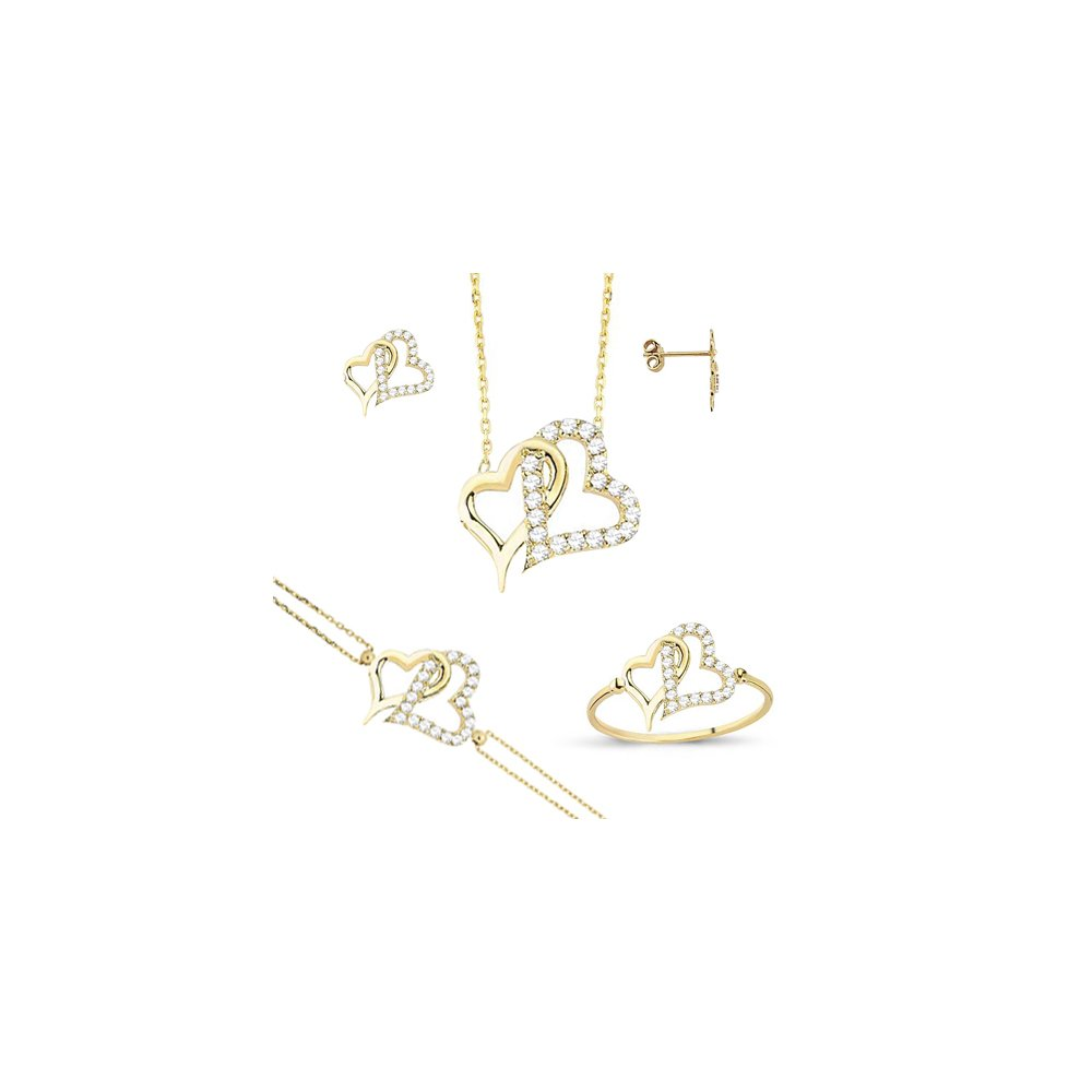 Heart 14k Solid Yellow Gold Jewelry Set 5.70 gr , For Women Quality Jewelry Set Dainty Fine Jewelry Set