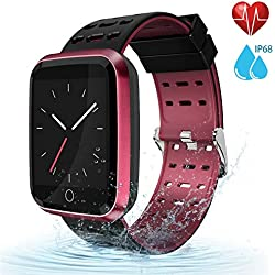 moreFit Fitness Tracker Smart Watch, IP68 Waterproof Fitness Watch Activity Tracker with Heart Rate Monitor, Wearable Smart Bracelet Sleep Monitor Step Counter Pedometer Watch for Men Women Kids, Red