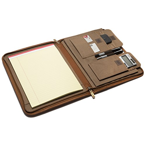 Muiska Leather Zip-Around Business 8.5 x 11 Letter Size Writing Note Padfolio Portfolio Cover Holder Organizer, Saddle