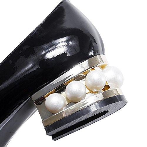 Tacón Grueso con Puntiagudos Perlas Seven con Nine Moda Cuero Mujer Zapatos negro para SxROwYqH