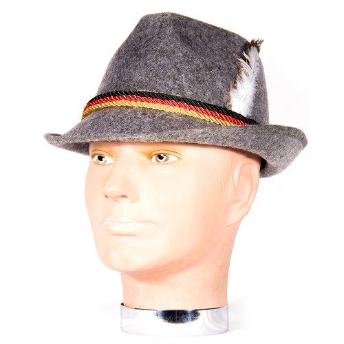 HMS Oktoberfest Hat Simulated Wool, Grey, One Size (Ladies Lederhosen Fancy Dress)