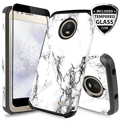 TJS Motorola Moto E4 Case, [Full Coverage Tempered Glass Screen Protector] Dual Layer Hybrid Shockproof Drop Protection Impact Rugged Marble Case Armor Cover Compatible Motorola Moto E4 (White)