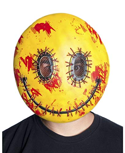 Adults Bloody Stitched Happy Emoji Vacuform Face Strap Mask Costume -