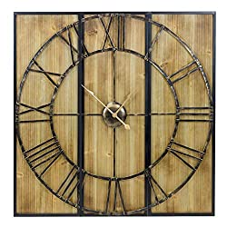 Sorbus 3-Piece Panel Wall Clock, Centurion Roman Numeral Hands, Analog Display, Oversized Clock with Metal & Solid Wood Rustic Farmhouse Barn Vintage Style (Pine)