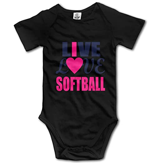 6e10ccc19 Amazon.com: Baby Bodysuit Live Love Softball Short Sleeves Triangle Romper  Cute Soft Outfits Infant Toddler Clothes Black: Clothing
