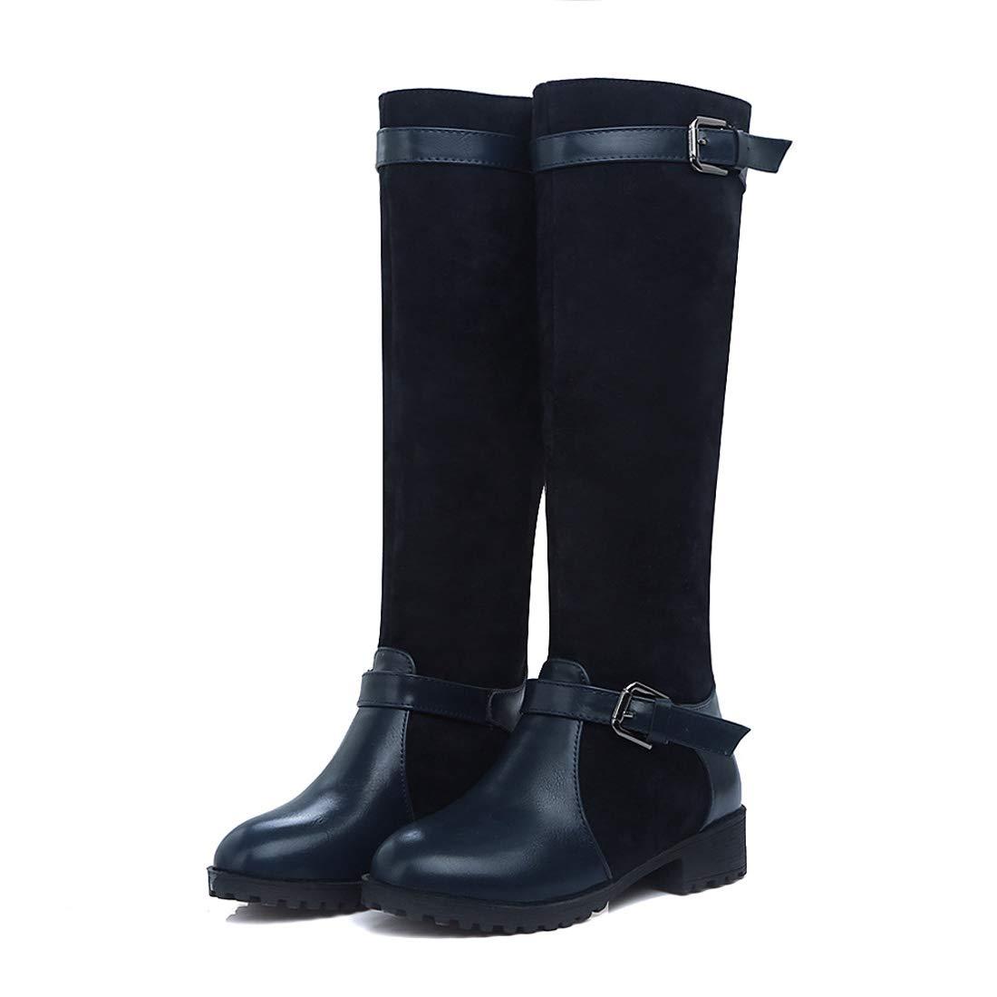 Bleu 35 EU DANDANJIE Chaussures pour Femmes Boucle Bottes d'équitation d'hiver Bottes Hautes à la Mode à Bout Rond et Genou
