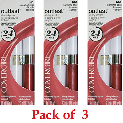 CoverGirl Outlast All Day Two Step Lipcolor, Cinnamon Stick 661 3 Pack