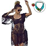 Novias Fashion Sexy Swimsuit Bikini Cover Up Floral Lace Mini Beach Dress Beachwear(Black 1)