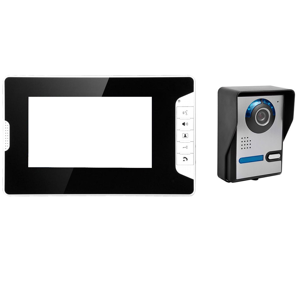 Fenteer 1カメラ 1モニター 7インチ 液晶 ビデオ ドア 電話 ドアベル ホーム インターホン システム 黒 耐久性 調整可能 B078RMNV75