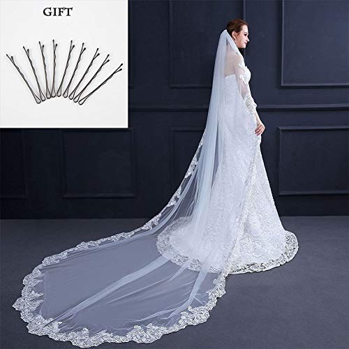 - BJ&HH Wedding Veil Europe and The United States Long Lace Embroidered Lace Trailing 3m Yarn with Hair Comb White