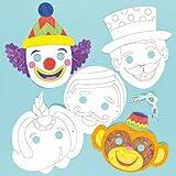 Lot de 6 Masques à colorier - Motif Cirque - Idéal pour les fêtes d'anniversaire