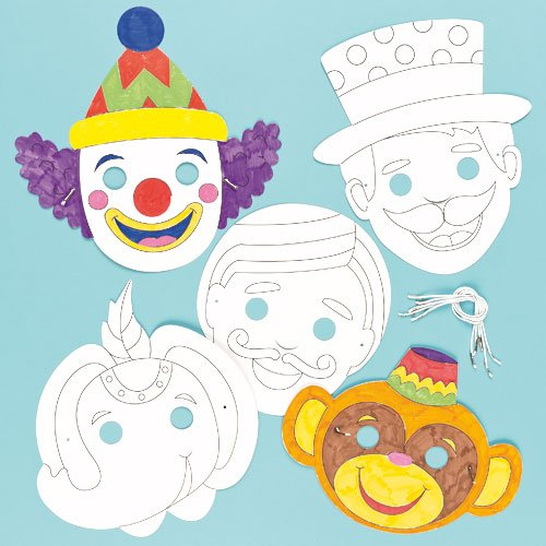 Circus Colour in Craft Masks for Children to Decorate & Wear as a Part of a Costume at a Fancy Dress Party (Pack of (Make Circus Ringmaster Costume)