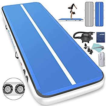 Image of 1INCH Airtrack Tumbling Mat 16ft Blue Air Track Mat 8 inches Inflatable Gymnastics Mat with Electric Air Pump for Training Gymnastics,Cheerleading,Parkour,Martial Arts,Taekwondo