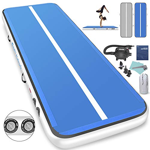 Inflatable Gymnastics Air Track Mat, 1INCH Tumbling Training Airtrack with Electric Air Pump for Practice Gymnastics,Cheerleading,Parkour,Martial Arts,Taekwondo (White + Blue 20T X 3.3FT X 8inch)