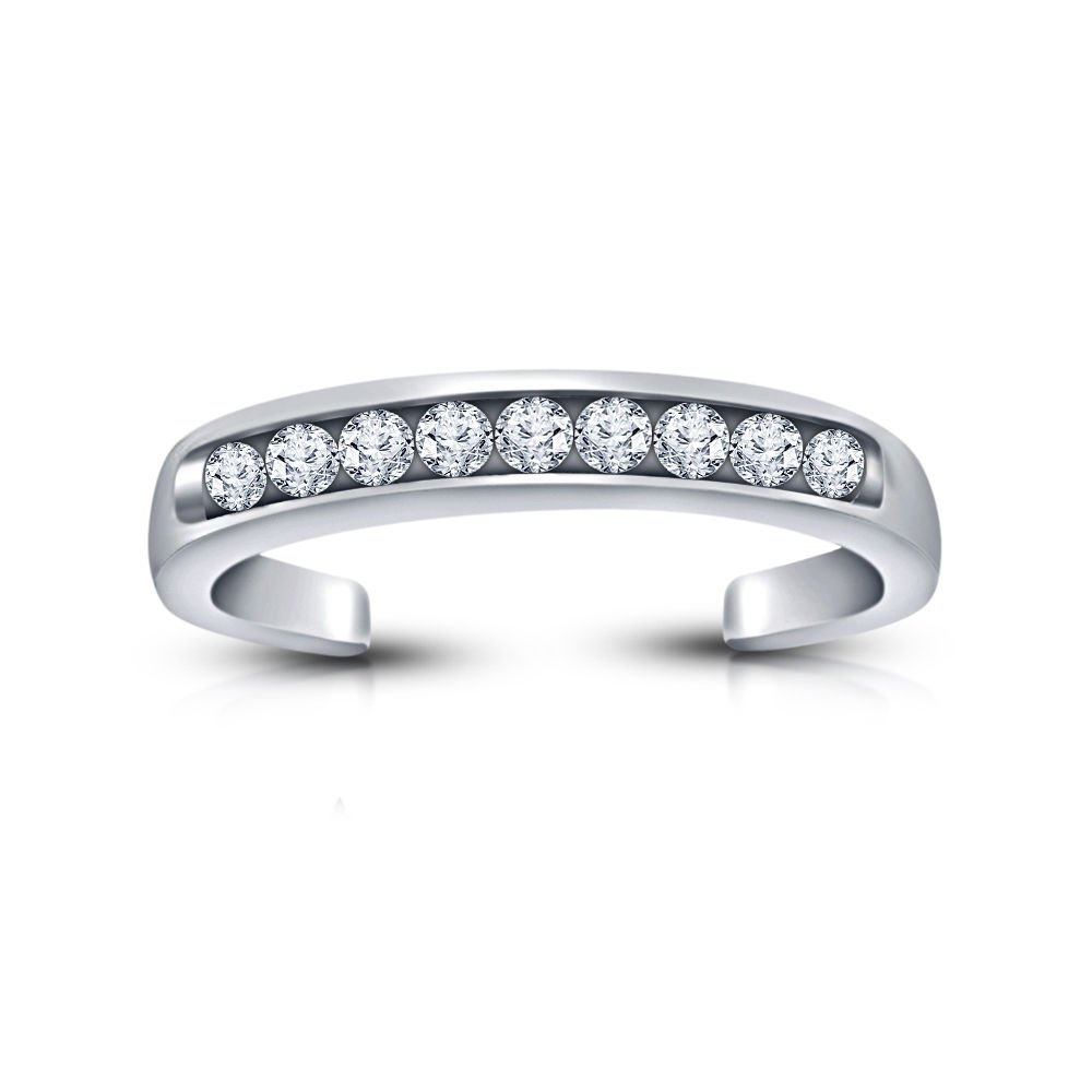 18K Gold Over Sterling Silver Channel-Set CZ Toe Ring