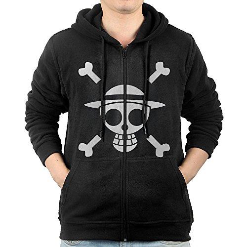 Man Popular Anime One Piece Primary Logo Full Zip Hooded Sweatshirt Pullover