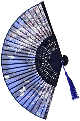 BIGOCT 265D Lee Goal White Butterfly Pink Flowers Pattern Lace Bamboo Handheld Folding Fans For Girls Women, Blue, One (Fancy Fan)