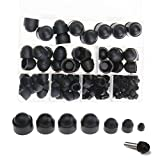 Micro Trader Nut and Bolt Covers 145pcs/Set M4 M5 M6 M8 M10 M12 Black Plastic Dome Bolt Nut Hex Hexagon Protection Caps Cover