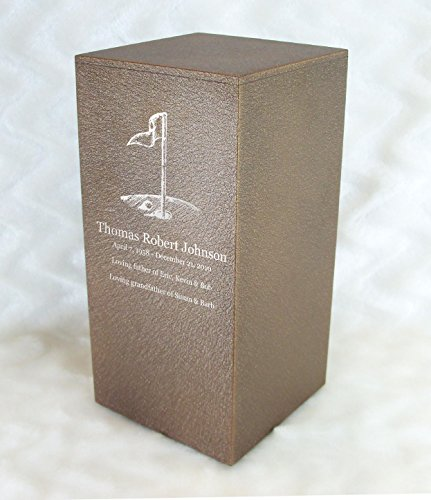 PERSONALIZED Engraved Golf Cremation Urn for Human Ashes -Made in America- Handcrafted in the USA by Amaranthine Urns, Adult Funeral Urn -Eaton DL- (up to 200 lbs living weight) (Cast Bronze)