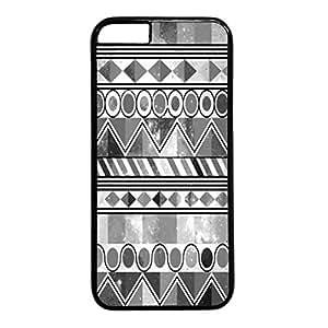 iCustomonline Aztec Art Print Grey Designs Case Back Cover for iPhone 6 Plus (5.5 inch) Black PC Material