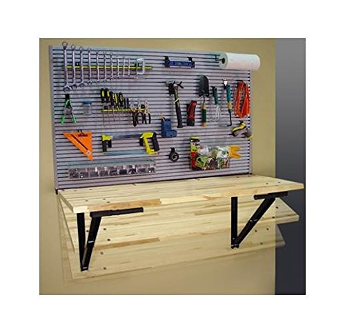 Fold Away Work Bench w Ideal Wall Storage Solution by Bench Solutions