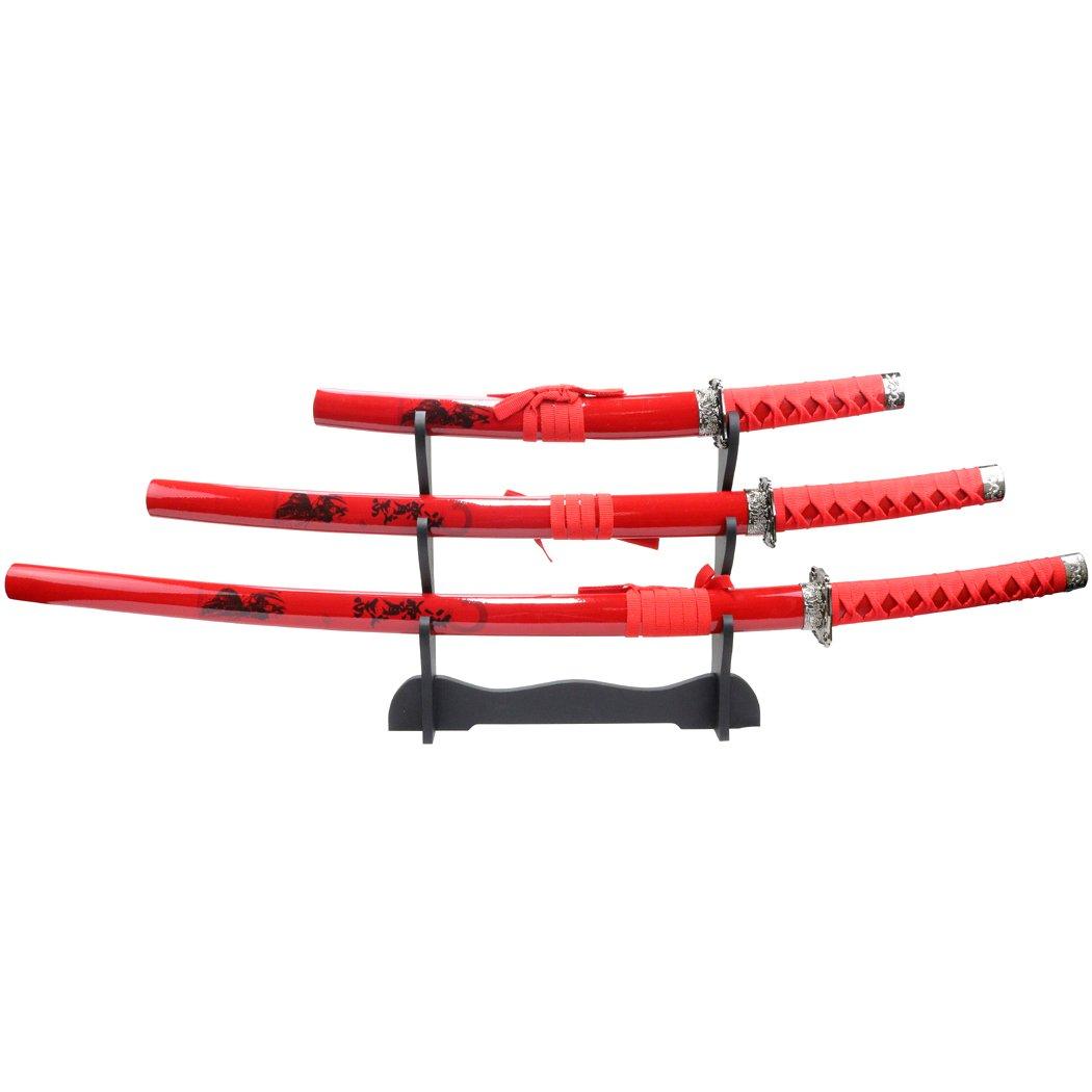 Defender 3pc Red Samurai Katana Sword Set Corbon Steel Blades with Stand