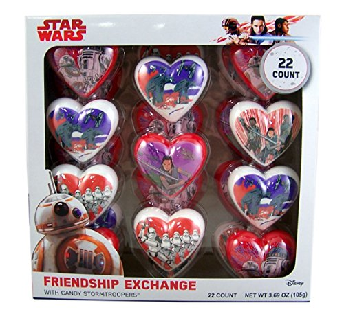 Star Wars Valentines Day Friendship Exchange Plastic Heart with Candy Stormtroopers, 22 Count