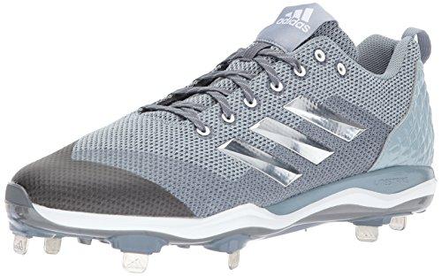 adidas Herren PowerAlley 5 Baseballschuh Onix, Silber Met., Hellgrau