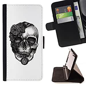 For Apple Iphone 5 / 5S Russian Skull CCCP Beautiful Print Wallet Leather Case Cover With Credit Card Slots And Stand Function