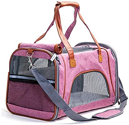 HLYMNB Pet Carrier Bag Flax Luxury Breathable Travel Backpack for Small Dog Foldable Cat Carrier Dog Bag 5 Color Pet Supplies: Amazon.es: Productos para mascotas