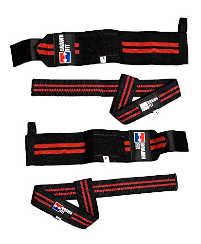 Premium Quality Wrist Wraps (1 Pair) + Lifting Wrist Straps (1 Pair) Bundle Best Durable Cotton Pro Gear Weightlifting Bodybuilding with Pouch Brawn Fit (Red/black)