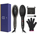 hair brush 450 - Hair Straightening Brush, USpicy Upgraded Hair Straightener MCH Heating Technology with FREE Heat Resistant Glove for Silky Frizz-free 320-450℉/160-230℃ Adjustable Temperature, Auto Lock, Anti-Scald