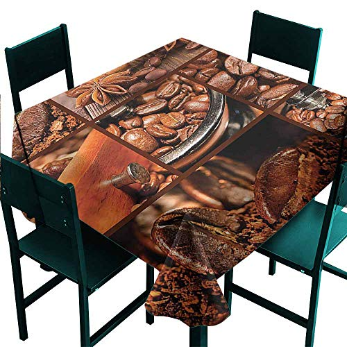 DONEECKL Dust-Proof Tablecloth Brown Antique Grinder Coffee Beans Excellent Durability W70 xL70