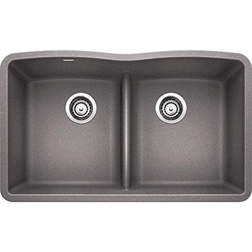 (Blanco Diamond 442077 Equal Bowl SILGRANIT 80% Granite Double Kitchen Sink Low Divide, Metallic)