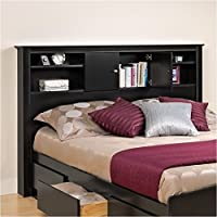Pemberly Row Full Queen Bookcase Headboard in Black Finish