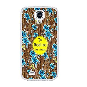 Vintage Floral Series Hybrid Wood Pattern Print Hard Back Case Cover Protector Fit for Samsung Galaxy S4 I9500 Cell Phone (monogram white ju5245)