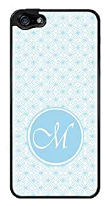 Initial M - Baby Blue Geometric Pattern Monogram Snap-On Cover Hard Plastic Case for iPhone 5/5S (Black)