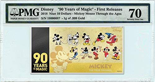 2018 No Mint Mark Disney Mickey Mouse 90th Anniversary 1g Gold Coin Note - Certified PMG 70 FIRST RELEASES - Gem Uncirculated - 5g Silver Note $10 PMG Gem Uncirculated