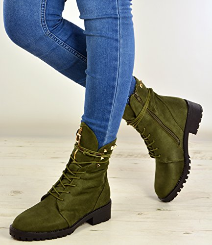 Green 8 Hiking Up 3 New Desert Boots Ladies Size Studs Womens Shoes Uk Ankle Lace HZwFn6aq