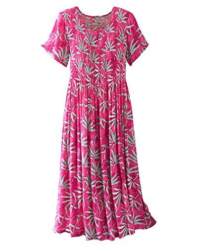 Kaktus Printed Crinkle Crepe Smocked Dress, Pink Print,, used for sale  Delivered anywhere in USA