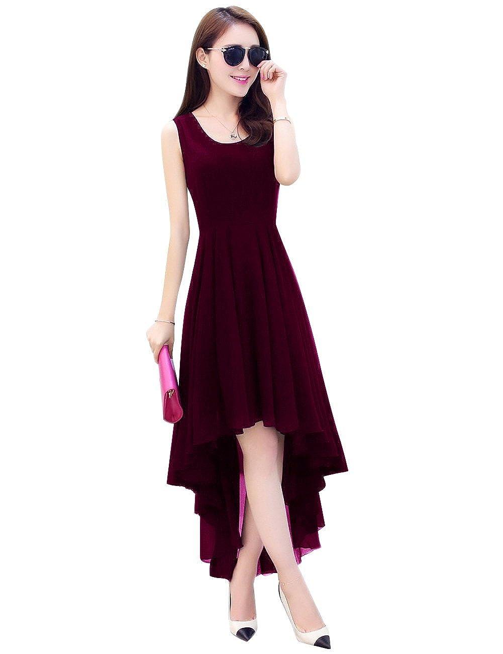 Wine Dasior Women's ALine Asymmetric High Low Summer Beach Holiday Party Dress
