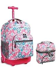J World New York Sunrise Rolling Backpack & Corey Lunch bag Set (Blue Raspberry)