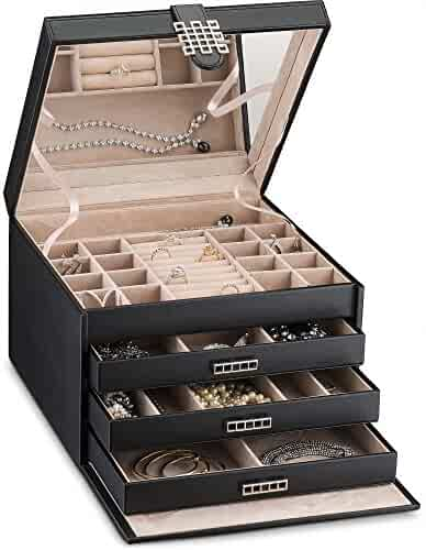 Glenor Co Extra Large Jewelry Box Organizer - 42 Slot Classic Holder w Modern Closure, Drawer, Big Mirror & 4 Trays for Women - Storage Case for Earring Ring Necklace Bracelet Watch -PU Leather- Black
